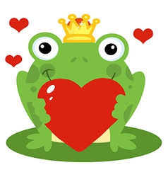 Frog Prince Holding A Red Heart vector image