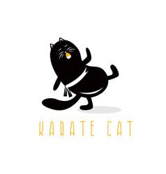 funny cat making karate kick design template vector image