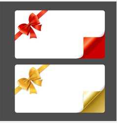 gift card template silk ribbon bow and curved vector image