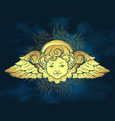 Gold cherub cute curly smiling baby boy angel vector
