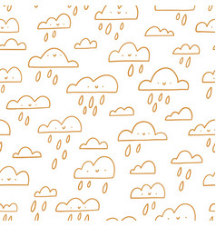 golden outline happy clouds rainy weather vector image