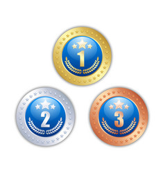 golden silver and bronze quality badges or medals vector image