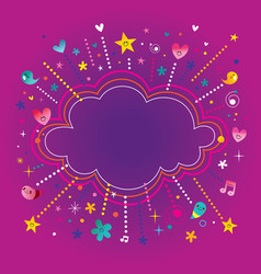 Happy fun bursts explosion cartoon cloud shape ban vector