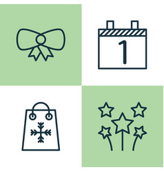 Happy icons set collection of festive fireworks vector