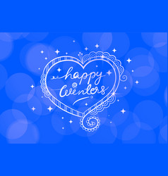 happy winters blue bokeh background with doodle vector image