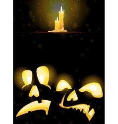 Horrible Jack o Lanterns and burning candles vector image