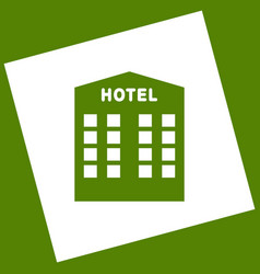 hotel sign white icon obtained as a vector image