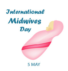 International midwife day baby girl in pink vector