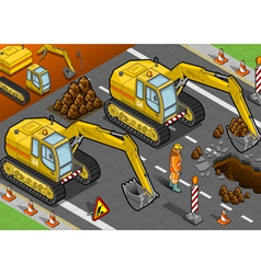 isometric yellow excavator in front view vector image