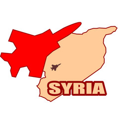 Jet bomber above syria map flying vector