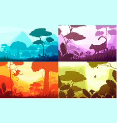 jungle cartoon landscapes set vector image
