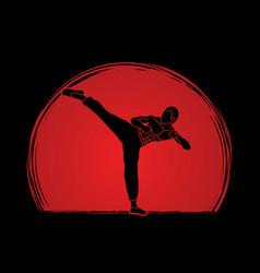 Kung fu karate kick vector
