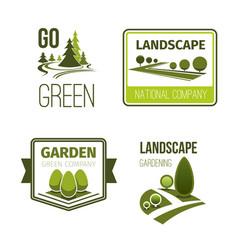 Landscape design gardening service emblem set vector