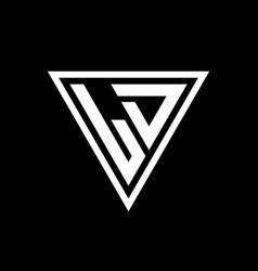 Ld logo monogram with triangle shape designs vector