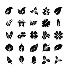 Leaf glyph icon set vector