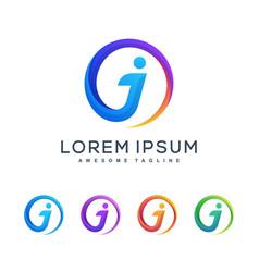 letter j multicolored concept design vector image