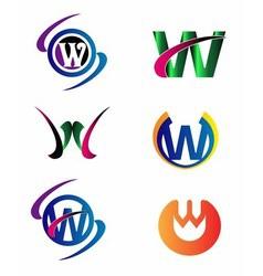 Letter W logo Icons Set Graphic Design vector