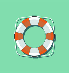 lifebuoy icon in flat style isolated on a green vector image