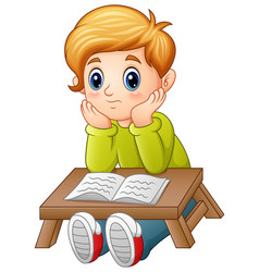 little boy confused read a book vector image