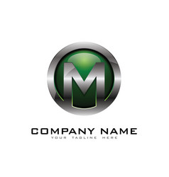 M 3d circle chrome letter logo icon design vector