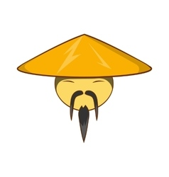 Man in chinese conical hat icon cartoon style vector