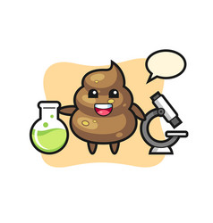 Mascot character poop as a scientist vector