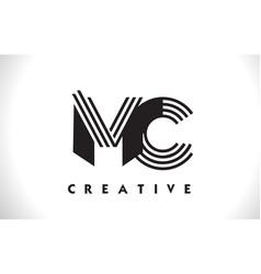 mc logo letter with black lines design line letter vector image