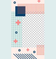 memphis style story template geometric memphis vector image
