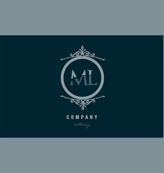 Ml m l blue decorative monogram alphabet letter vector