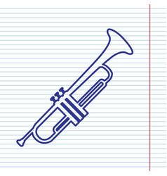 Musical instrument trumpet sign navy line vector
