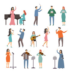Musician persons in different music duets vector