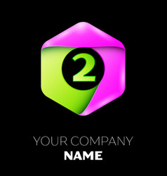 Number two symbol in colorful hexagonal vector