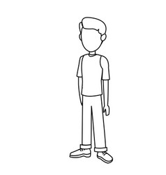 outline young boy standing kid image vector image