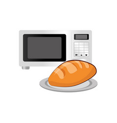 Oven microwave with bread vector