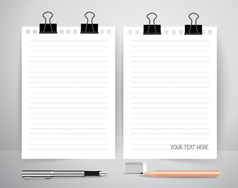 Paper with pen and pencil Business working vector