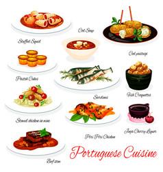 Portuguese cuisine meals menu vector