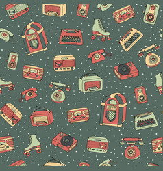 Retro seamless pattern with antique tech scooter vector