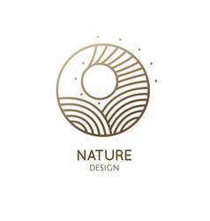 Round logo sunny sea vector