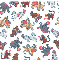 Seamless pattern circus people animals elements vector