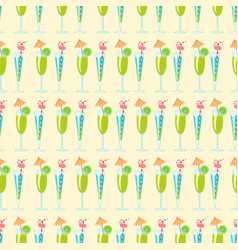 seamless pattern with exotic cocktails vector image