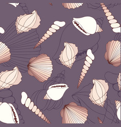 Seashells seamless decorative background vector