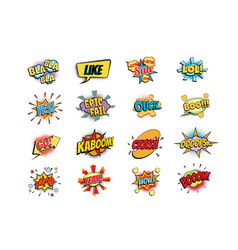 set colorful comic speech bubbles shape vector image