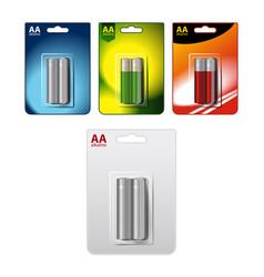 Set glossy alkaline aa batteries in vector