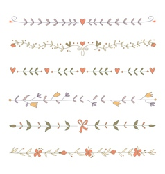 Set hand drawn floral border elements vector