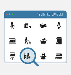 set of 12 editable cleaning icons includes vector image