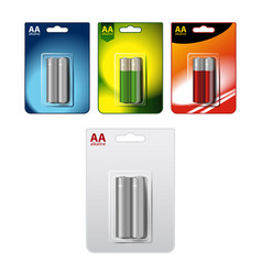 Set of glossy alkaline aa batteries in vector