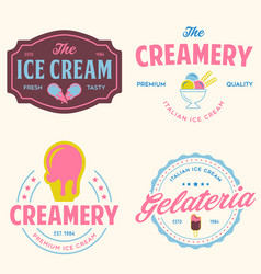 set of vintage ice cream shop logo badges and vector image
