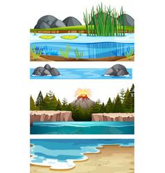 Set of water scenes vector