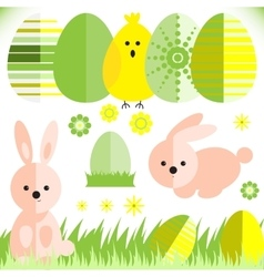 Set with easter eggs and rabbit in flat style vector image