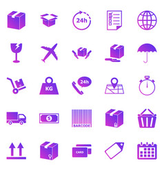 shipping gradient icons on white background vector image